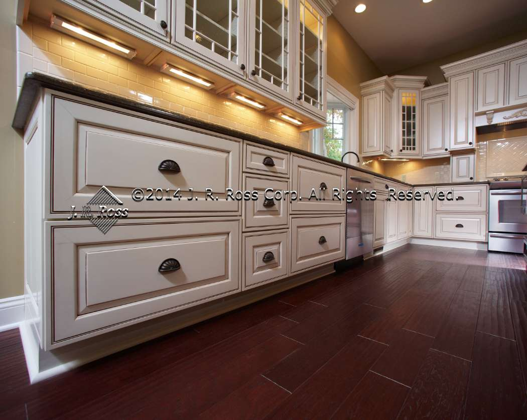 Elegant Glazed Kitchen Cabinets Painting